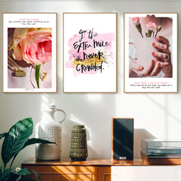 sweet pink rose Canada - Pink Rose Flower Sweet Paris Nordic Pop Art Prints Canvas Paintings Vintage Kraft Posters Coated Wall Stickers Decor Family Gift