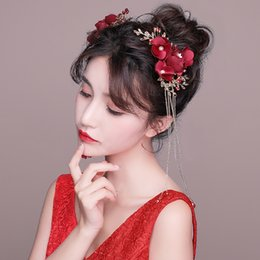$enCountryForm.capitalKeyWord Australia - One Pair Red Fabric Flower Barrettes Long Tassel Hair Clips Wedding Bridal Bridesmaids Headdress Floral Side Clip Accessories