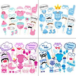 Wholesale Diapers Glasses Hat Pink Blue Baby Shower Diy Girl Boy Birthday Photo Props Simple Fashion Balloon Party Decoration pcD1