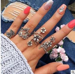Rings deeR head online shopping - Bohemia Antique Gold Silver Flower deer head arrow triangle Rings Set Knuckle Finger Midi Ring for Women Jewelry