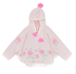 $enCountryForm.capitalKeyWord Australia - INS Kids knitted sweater shawl girls tassel hooded long sleeve shawl baby floral embroidery pullover poncho children cloaks F9744