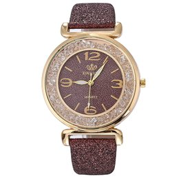 Wholesale Women Analog Round Dial Quartz Leather Strap Crystal Rhinestone Wrist Buckle Clasp Watch Luxury Adjustable