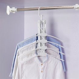clothes hanger rack space saving Canada - 8 In 1 Rotate Anti-Skid Multilayer Folding Hanger Plastic Drying Hanging Rack for Clothes Towels Household Storage Space-saving T200605