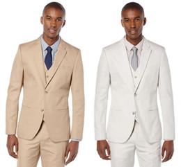 $enCountryForm.capitalKeyWord Australia - Cool Beige And Fine Notch Lapel Wedding Groom Tuxedos Men Suits Wedding Prom Dinner Best Man Blazer (Jacket+Vest+Pants)