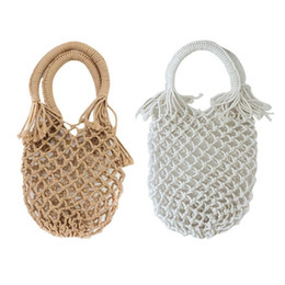 a3501e6e5 Ins New Pocket Straw Hand Woven Bag Cotton Handbag Vacation Fashion Beach  Women Bag Tote Handmade Braided Rattan Hollow Out Bags
