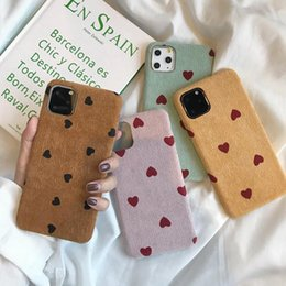 love iphone NZ - Cartoon Love Heart Corduroy Phone Case For iPhone 11 Pro Max XS XR X 6 6S 7 8 Plus Cotton Linen Plush Winter Soft PU Cover eshop