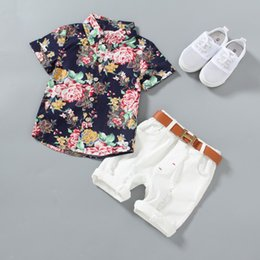 $enCountryForm.capitalKeyWord Australia - Baby Boy clothes Boys Floral Shirts with Cotton Short pants belt Kids Fashion Gentleman Summer Outfits Casual Sets Clothing 3pcs set