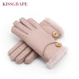 Real Leather Gloves For Men Australia - Brand New Women Winter Warm Real Leather Gloves Ladies Wool Mittens Gloves for Women Sheep Fur