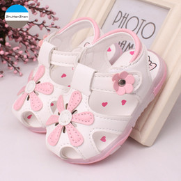 year girl sandals NZ - 2019 Summer 1 year old baby girls sandals fashion LED lights princess non-slip shoes soft first walk infant sports shoes newborn