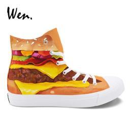 65535de74af Wen Design Hand Painted Shoes Hamburger Canvas Sneakers Unisex High Top  Lace up Skateboard Espadrilles Flat Laced Plimsolls  54771