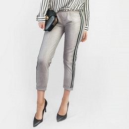 Wholesale women elegant pants black for sale – dress Women Trousers Elegant Women Side Stripe Black Pants Elastic Waist Ladies Autumn Casual Green Gray Korean Fashion Mujer Hy81