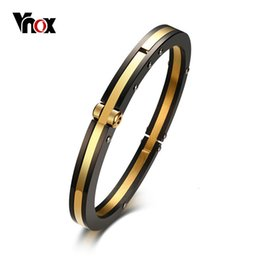 Cross Cuffs stainless steel online shopping - Vnox mm Stylish Closure Cuff Bracelet for Men Bangle Stainless Steel Classic Simple Male Jewelry Black Gold Color Bijoux