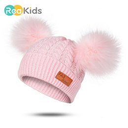 knit beret hats for girls NZ - Pompom Baby Winter Hat For Girls Boys Knitted Warm Cap Hat Casual Beanies Kids Winter Hat Children Knitted Cute Baby Cap