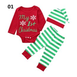 $enCountryForm.capitalKeyWord Australia - Christmas baby suits newborn outfits baby girl designer clothes long sleeve romper+trousers+hats 3pcs set infant sets A7073