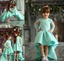 Ingrosso 2019 Chic High Low Cute Princess Maniche lunghe Ragazza Pageant Dress Vintage Arabian Lace Party Flower Girl Bel vestito per Little Kid