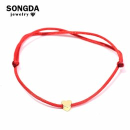 $enCountryForm.capitalKeyWord NZ - SONGDA Cute Heart Red Thread String Bracelet Multicolor Rope Adjustable Friendship Bracelets for Women Children Factory Outlets