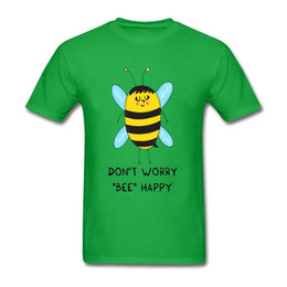 blue shirt design man Australia - Design Don't Worry Bee Happy Shirt Geek Men's T Shirts Short Sleeve 100% Cotton O Neck T Shirt For Man