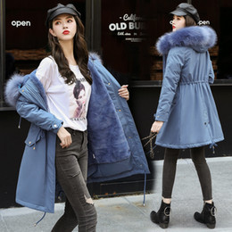 Lace puLL online shopping - Long Fund Heavy Seta Lead Parker Cotton Woman Winter Waist Pulling Rope Self cultivation Thin Cotton Loose Coat Tide