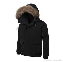 mens short parka NZ - New 2019 Mens BOMBER PARKA big raccoon fur feather down short Winter Warm coat
