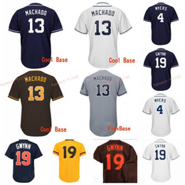 Wholesale 13 Manny Machado San Diego Jerseys Padres Tony Gwynn Wil Meyers Baseball Jersey Stitched Men s Blue White Gray coffee Design