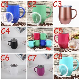 Coating Mug Australia - 12oz Wine Cup With Handle Double Wall stainless steel tumbler Thermos Stemless tumblers Powder Coated Travel Cup Beer Mugs H004