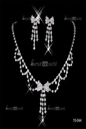 $enCountryForm.capitalKeyWord Australia - 15044 Design Elegant Silver Plated Pearl & Rhinestone Bridal Necklace & Earrings Jewelry Set Cheap Accessories for Prom party 15036