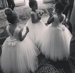 $enCountryForm.capitalKeyWord Australia - 2019 Plain Design Small Neck Sleeveless Floor Length Flower Girl Dress Satin Tulle Communion Gown with Lovely Bow Open Back