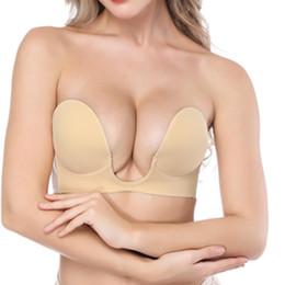 Wholesale Silicone Bra Invisible Push Up Bra Deep U Plunge Bras Insert Pads Sticky Breast Enhancer Support Underwear Strapless Brassiere