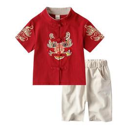 $enCountryForm.capitalKeyWord Australia - China Clothing Children Boy Summer Tang Dynasty Suit Kids Traditional Chinese Dance Costumes Folk National Costume 2pcs DQS1954