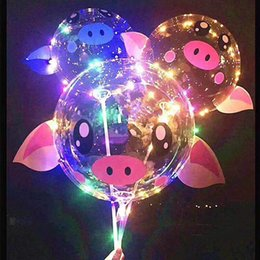 bobo cartoon NZ - 18 inch Pig Piggy BOBO Balloon LED Cartoon Balls 3m LED Luminous Lights String Balloon Balls for Birthday Wedding