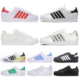 new arrival 4588a 90dad adidas 2019new Originals superstar scarpe casual da uomo donna nero bianco  oro verde rosso super star moda uomo sneakers piatte 36-44