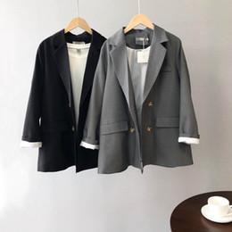 $enCountryForm.capitalKeyWord Australia - Fall Women Blazer Jacket Coat Double Breasted Slim Korean Office Coat Black Gray Feminino Outwear Loose Cool Comfort OL Wear