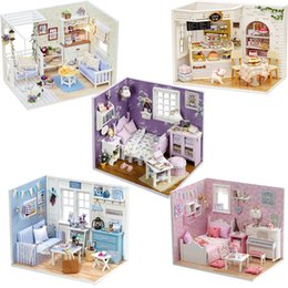 $enCountryForm.capitalKeyWord NZ - Diy Doll House Miniature Dollhouse Model With 3d Furniture And Dust Cover Wooden Doll House Creative Toys For Children #e Y19070503