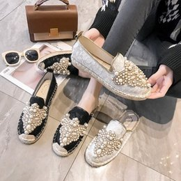 Wholesale Luxury Pearl Embellishments Mesh Upper Women Fisherman Shoes Round Toe Slip On Womens Loafers Soft Rubber Heels Women Flats