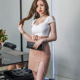 sexy hot low cut dress 2020 - Hot Sexy Office Ladies Deep Low Cut Mini Women Summer Panelled Backless Short Sleeve Belted Slim Fit Korean Wrap Dress c