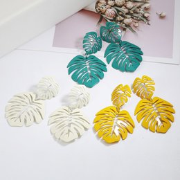 coconut earrings UK - Exaggerated Bohemia Colorful Metal Hollow Double Leaves Coconut Palm Leaf Big Beach Earrings For Women Girl Large Earrings