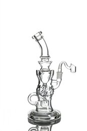 bubblers rig UK - 11.7 Inchs Big bong Recycler Oil Rigs Thick Glass Water Bong Smoking Pipes Heady Dab Unique Bong Bubblers With 14mm Joint