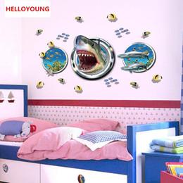 $enCountryForm.capitalKeyWord NZ - DIY 3D The Bottom Of The Sea Shark World Art Sticker Bedroom Home Decor Vinyl Wall Sticker Waterproof Rural Wallpaper