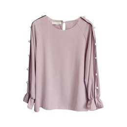 $enCountryForm.capitalKeyWord Australia - Fat MM large size chiffon shirt women's Korean version of the large size speaker long sleeve beaded bottoming shirt