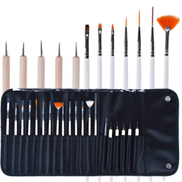 Wholesale 20pcs Nail Art Design pen Brushes Set Dotting Painting Drawing Nail Polish Pen Tools makeup brush set Kit with leather bag WWA161