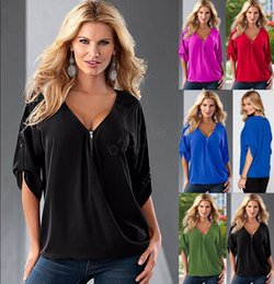 $enCountryForm.capitalKeyWord Australia - Women Loose Top T-Shirt middle Sleeve Zipper V Neck T-Shirt Ladies Blouse Shirt over size home clothing Plus Size Tee LJJA2859