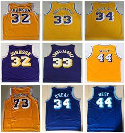 Meilleure qualité Vintage 73 # Rodman Shaquille # 34 Maillot O Neal # 33 Kareem Abdul Jabbar Maillot 13 # Wilt Chamberlain Jerry 44 # Ouest Maillots Chemise en Solde