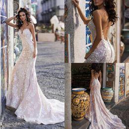 b803fe1e882b Sexy Country Mermaid Wedding Dresses Sheer Neck Sleeveless Lace Appliques  Illusion Bridal Gowns Blush Pink Plus Size Boho Wedding Dress