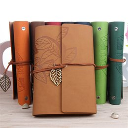 leather sketchbooks Canada - 145*105MM Classic Retro Notebook Leather Blank Diary Note Book Journal Sketchbook 8 Colors Stationery School Office Supplies