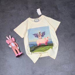 Background Prints Australia - Women's Short Sleeve Blue Green Pattern Background and Powdered Pig Print T-Shirtg