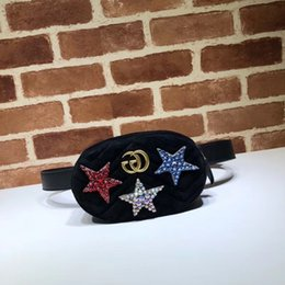 cartoon shape women bags Australia - 2019 Top Quality Brand design Letter Metal Buckle diamond Star V-shaped Waist bag Velvet Leather Woman 476434 Chest bag Handbag