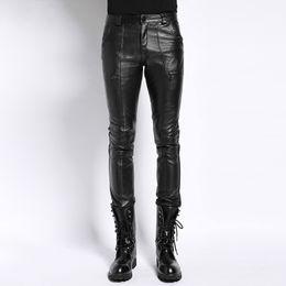 $enCountryForm.capitalKeyWord UK - Brand Luxury Genuine Leather Pants Men Clothing 2018 Streetwear Real Sheepskin Slim Pencil Pants Black Natural Leather Trousers