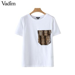 57c8558c1f07c7 Vadim women snake print patchwork T shirt white pocket short sleeve animal  pattern basic tees casual top camiseta mujer DA199