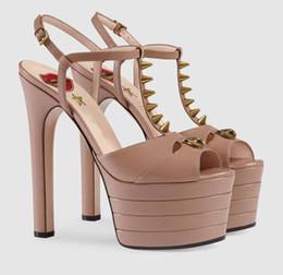 $enCountryForm.capitalKeyWord Australia - Hot Selling Designer Gold Metallic Leather Women Sandals Cut-out Peep Toe High Platform Wedding Shoes Bride T-bar Rivets Summer Shoes