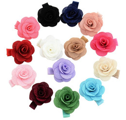Small Hair Flower Clips Australia - Mix Colors Small cute Flower Clip Kids Hair Clip With Ribbon Wrap Floral Clips Bowknot Hair Pins Girls Hair Accessories Hairpin 803